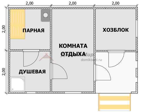 план каркасной одноэтажной баньки 6 на 4 с крыльцом