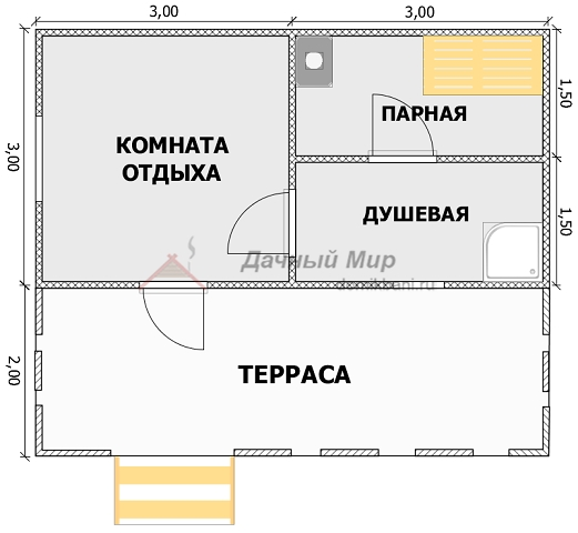 план каркасной бани 6 на 5 с террасой