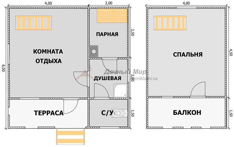 план этажей каркасной баньки 6 на 6 с террасой