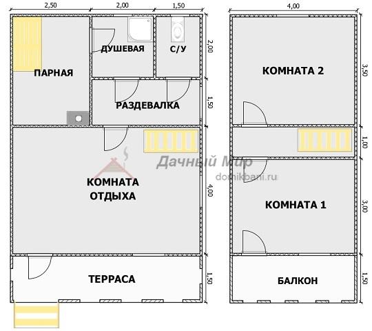 внутренняя планировка каркасной бани 6 на 9 с балконом и террасой