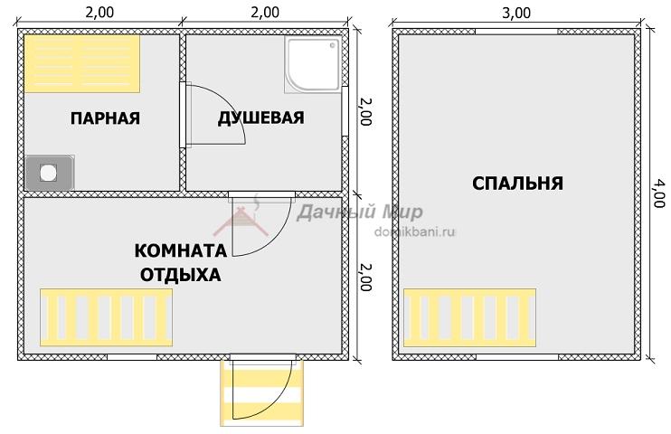 план проекта каркасной мансардной бани 4 на 4