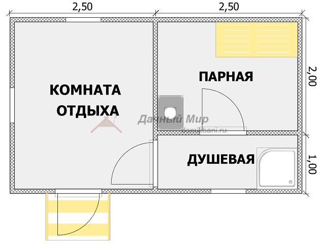 планировка проекта каркасной одноэтажной бани 5 на 3