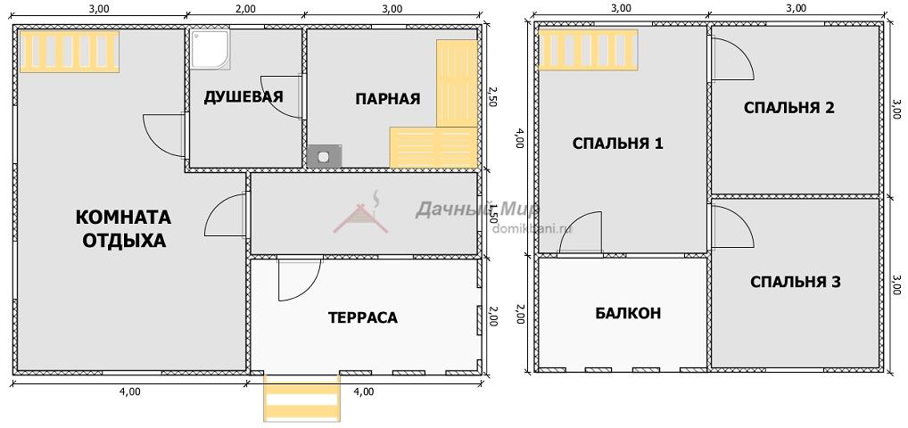 план каркасной бани 8 на 6 с мансардой и террасой
