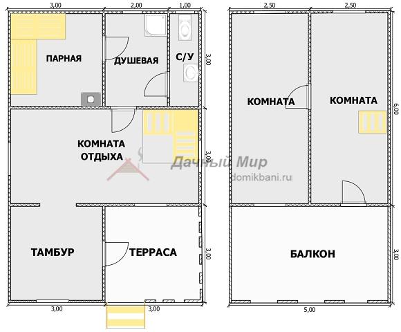 планировка проекта каркасной бани 9 на 6 с мансардой