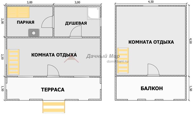 план каркасной бани 6х6 с балконом и террасой