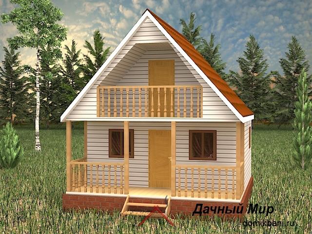 Проект каркасной бани 6х6 с балконом