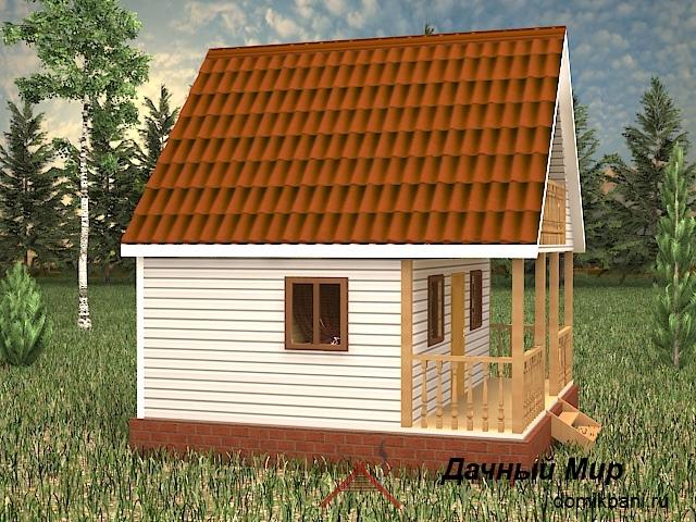вид каркасной бани 6х6 с балконом и террасой