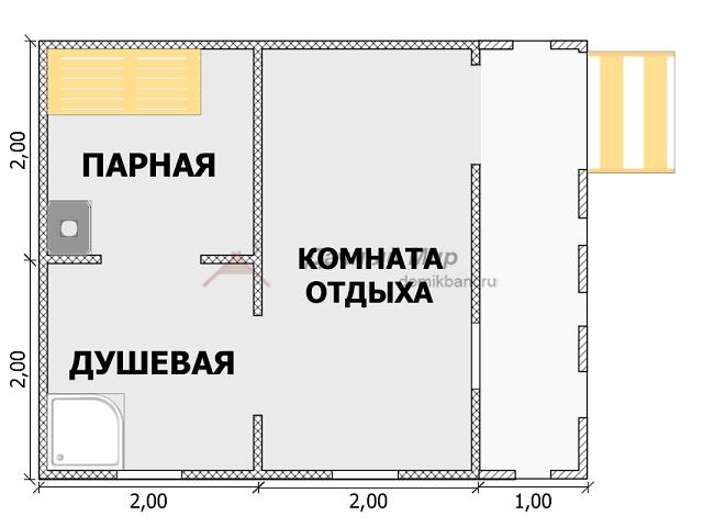 план сруба бани 4 на 5 с террасой
