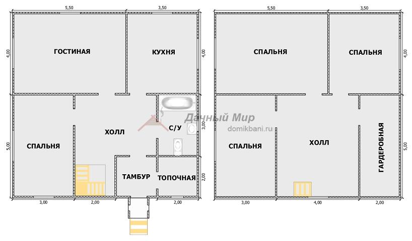 план Сруба двухэтажного дома 9 на 9