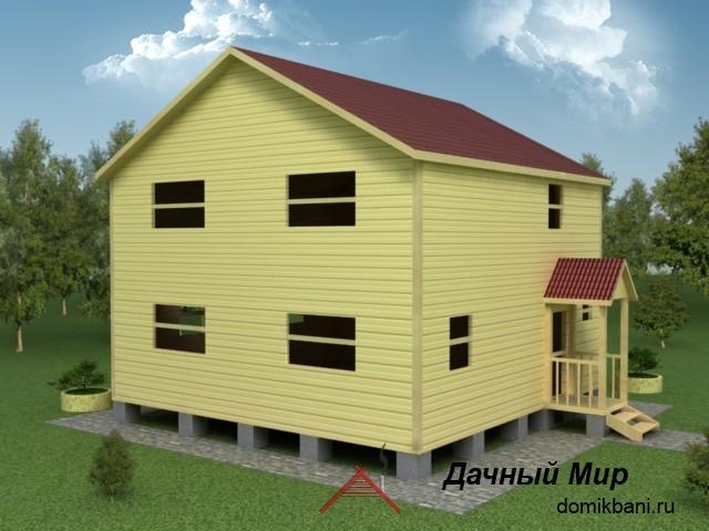 Сруб двухэтажного дома 9х9