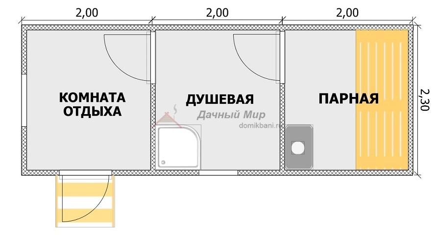 Планировка бани 6х2,3