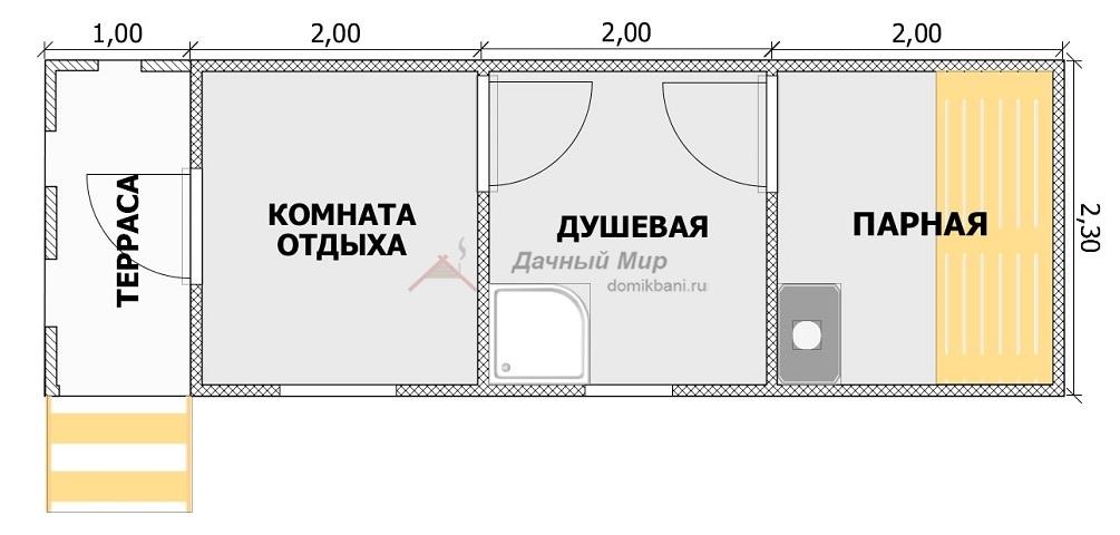 Планировка бани 7х2,3