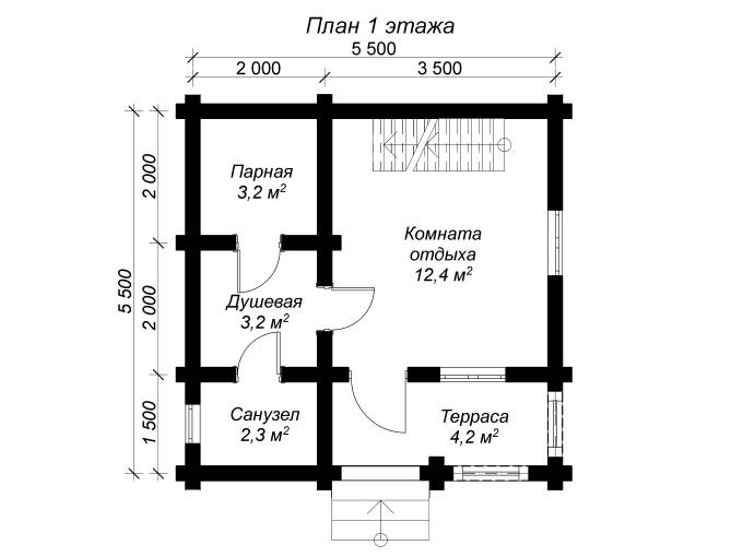 план 1 этажа бревенчатой бани 6х6 с мансардой