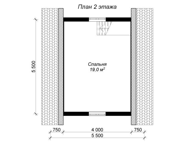 план мансарды бревенчатой бани 6х6