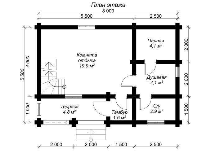 план 1 этажа бани из бревна 6 на 8 с мансардным этажом и тамбуром