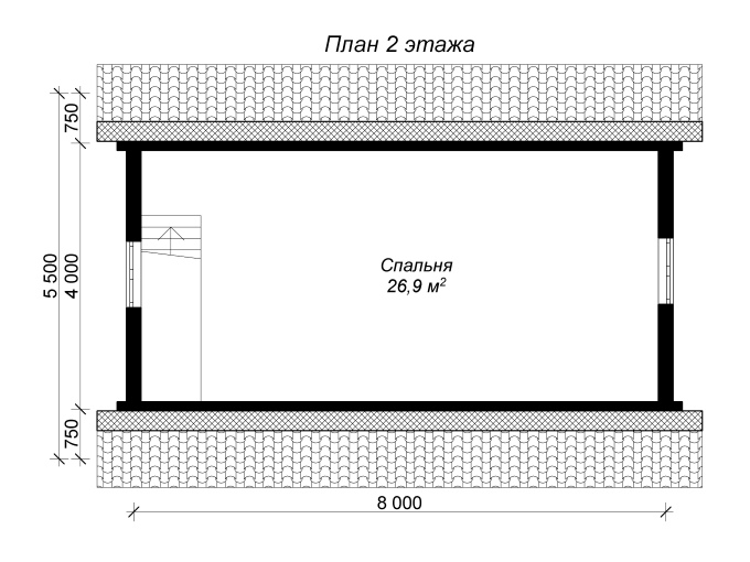 план 2 этажа бани из бревна 6 на 8 с мансардным этажом и тамбуром