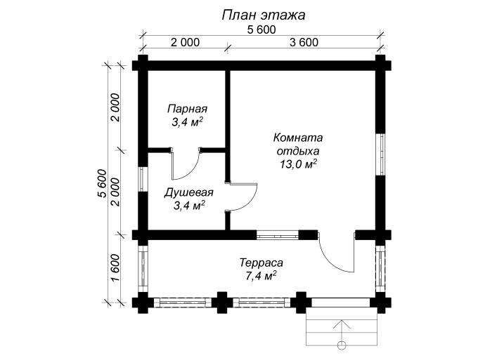 план бревенчатой баньки 5 на 5 с террасой
