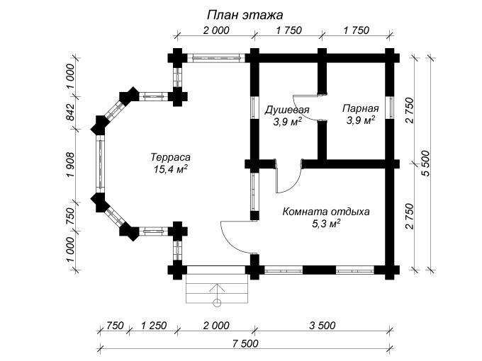 план бани из оцилиндрованного бревна 6 на 8 с террасой