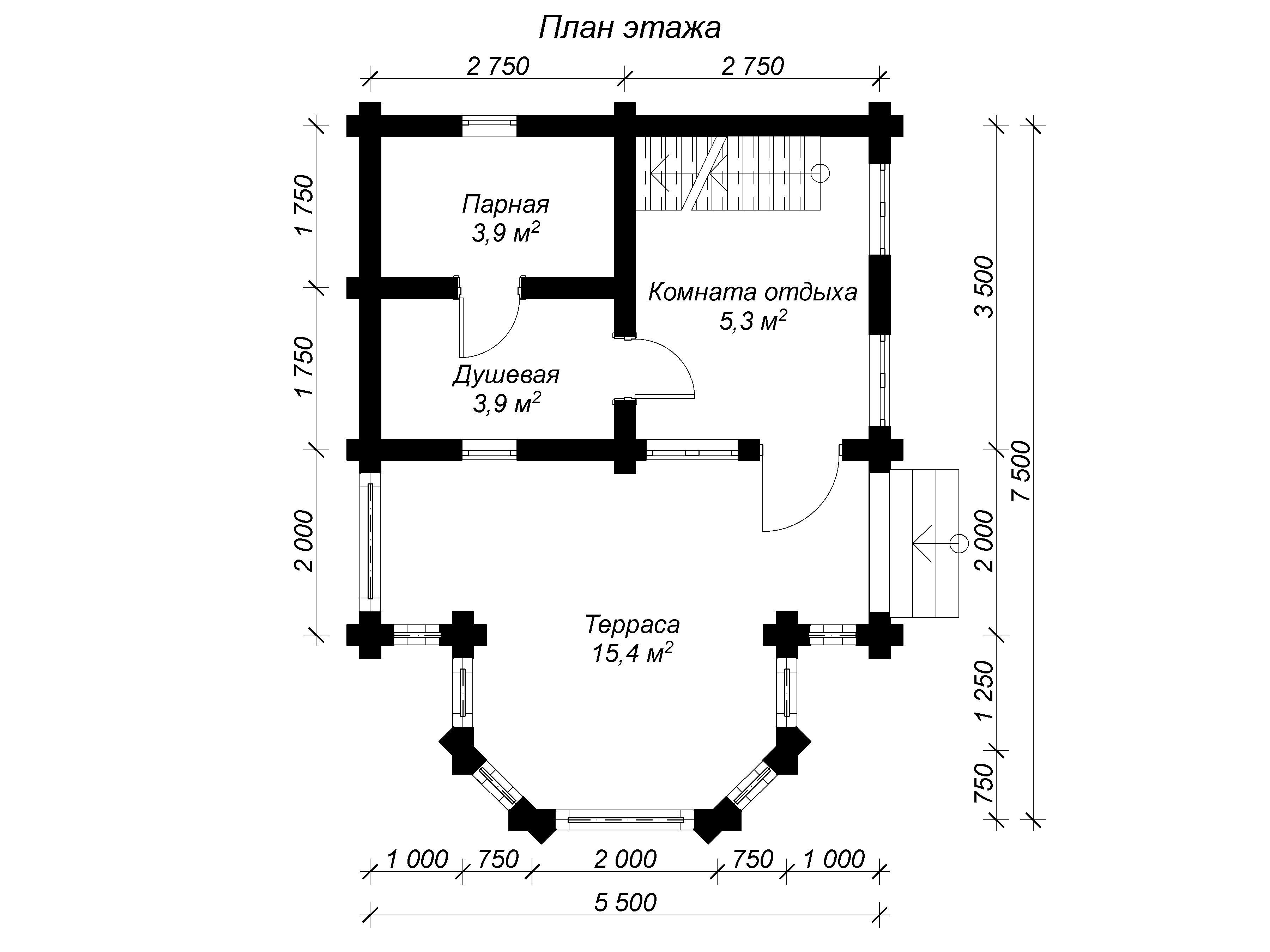 вид 1 этажа бани 5 на 7 из бревна с мансардой и верандой