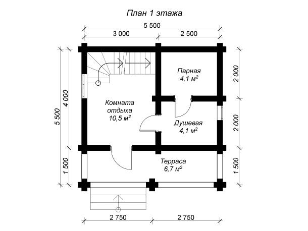 план 1 этажа бревенчатой бани с террасой 6 на 6