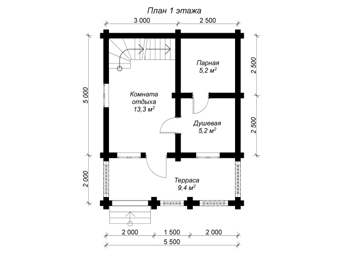 план 1 этажа бани из бревна 5,5 на 7