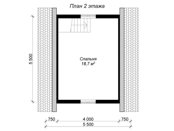 план мансарды бревенчатой бани с террасой 6 на 6