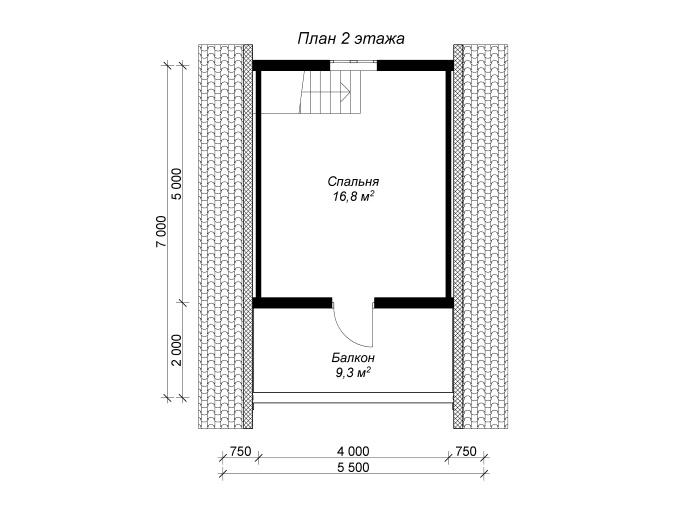 план 2 этажа бани из бревна 5,5 на 7
