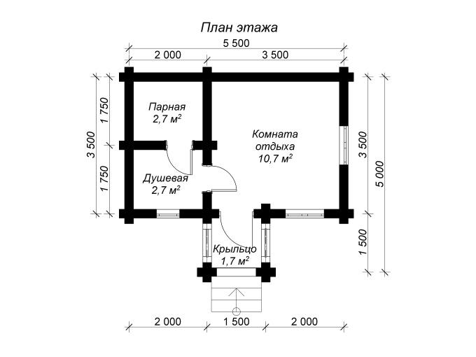план бревенчатой баньки 3 на 5 с крыльцом