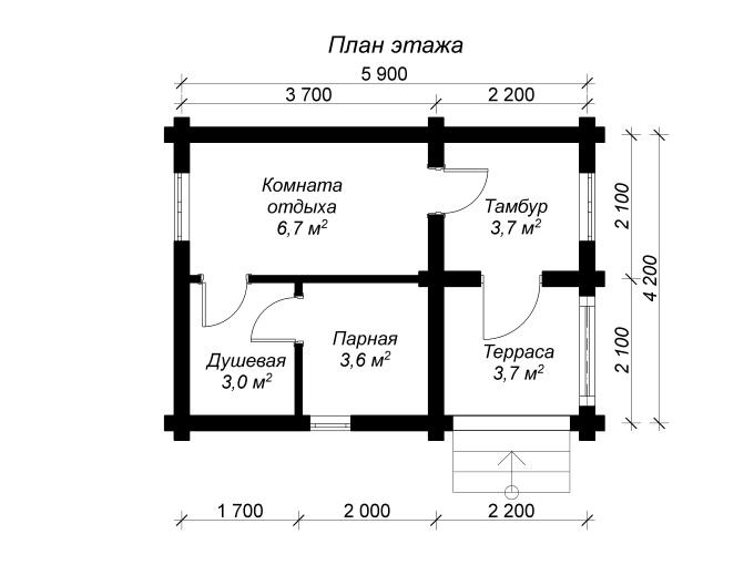 план бани из оцилиндрованных бревен 6 на 4 с террасой и тамбуром