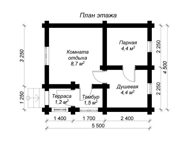 план баньки из оцилиндрованных бревен размером 4х5